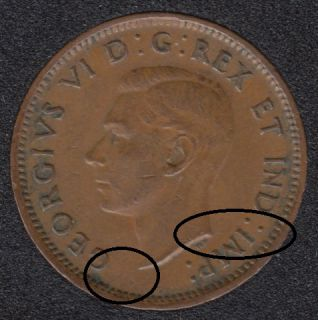 1942 - Break Bust to Rim - Bust to I to rim - Canada Cent