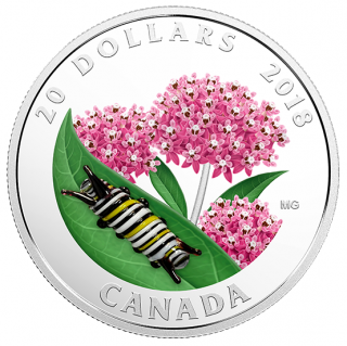 2018 - $20 - 1 oz. Pure Silver Coin - Murano Glass Caterpillar