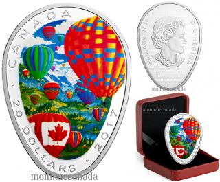 2017 - $20 - Pièce colorée de 1 oz en argent pur - Montgolfières