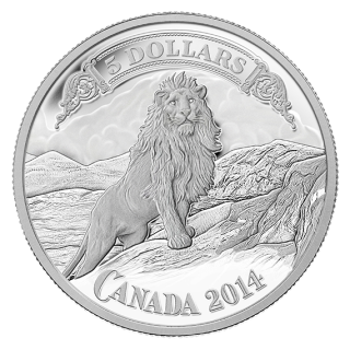 2014 - 5 - Fine Silver Coin - Canadian Bank Notes Series - Lion on the Mountain