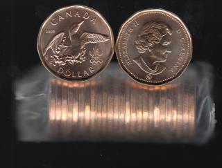 2008 Canada Roll $1 Dollar - Lucky Loonie - 25 Coins - UNC