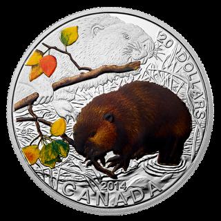 2014 - $20 - 1 oz. Fine Silver Coin - Baby Beaver