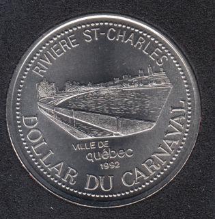 Quebec - 1992 Carnival of Quebec - Pal. 1970 / Rivière St-Charles - $2 Trade Dollar