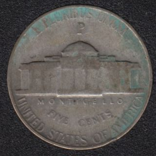 1944 P - Jefferson - Wartime Silver - 5 Cents