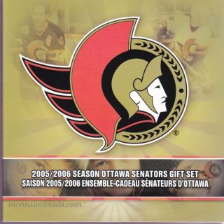 2005 2006  Season Ottawa Senators Gift Set - 25 cents Coloured - 7 Coins Set