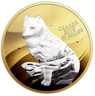 2019 - $50 - 5 oz. Pure Silver Gold Plated Coin - Inner Nature: Arctic Fox