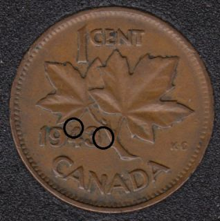 1943 - Planchet Flaw on 4 - Dot on 3 - Canada Cent