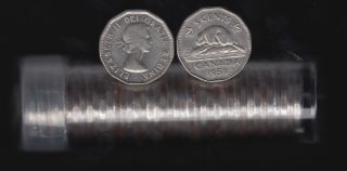 1958 Canada 5 Cents Roll - 40 Coins in Plastic Tube
