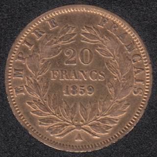 France 1859 A Napoleon III - 20 Francs Gold - 6,45 gr. - 0.900 Gold - 0.1867oz