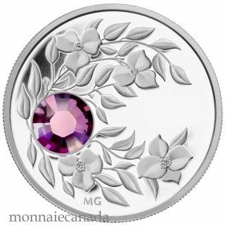 2012 - $3 - February Birthstone (Amethyst) - Fine Silver Coin