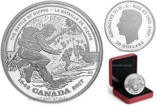 2017 - $20 - 1 oz. Pure Silver Coin - Second World War Battlefront: The Battle of Dieppe