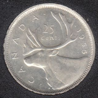 1955 - AU - Doubled Die Reverse - Canada 25 Cents