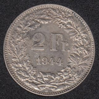 1944 B - 2 Francs - EF - Switzerland