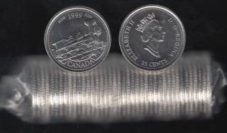 1999 Canada 25 Cents June - BU ROLL 40 Coins - UNC