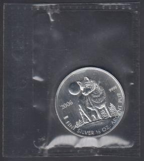 2006 Canada $1 Dollar Fine Silver - Wolf - 1/2 Oz - Flex Seal