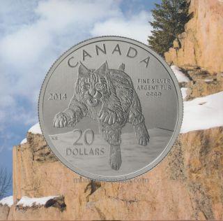 2014 - $20 for $20 Fine Silver Coin - Bobcat