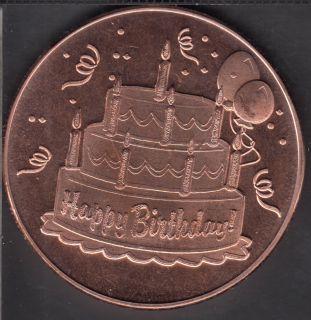 Happy Birthday- 1 oz .999 Fine Copper
