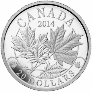 2014 - $20 - 1 oz. Fine Silver - Majestic Maple Leaves