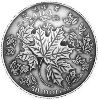 2018 - $50 - 5 oz. Pure Silver Convex Coin - Maple Leaves in Motion