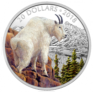 2018 - $20 - 1 oz. Pure Silver Coloured Coin - Majestic Wildlife: Mettlesome Mountain Goat