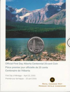 2005 - 25-cents coin Official first day Alberta Centennial