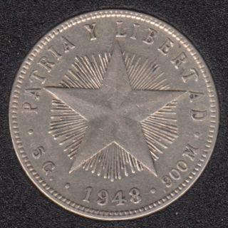 1948 - 20 Centavos - Argent - Cuba