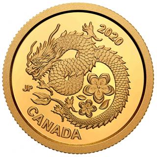 2020 - $8 - Pièce en or pur – Dragon porte-bonheur et ses fleurs