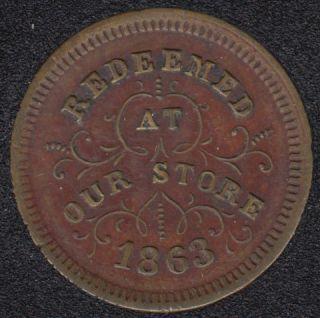 1863 - Civil War Token - Robinson & Ballou - Grocery - Troy N.Y.