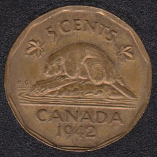 1942 - Tombac - EF - Canada 5 Cents