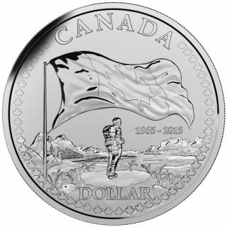 2015 - $1.00 - Brilliant Fine Silver Dollar - 50th Anniversary of the Canadian Flag