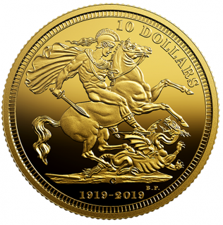 2019 - $10 - 1/4 oz. Pure Gold Coin - The 1919 Sovereign: 100th Anniversary of the Last Issue