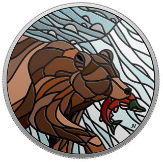 2018 - $20 - 1 oz. Pure Silver Coin - Canadian Mosaics: Grizzly Bear