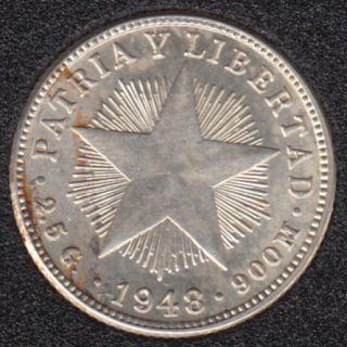 1948 - 10 Centavos - Argent - Cuba