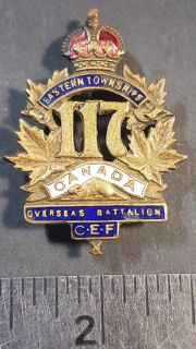 #1-67 WWI 117th Eastern Townships Overseas Battalion Canadian Expeditionary Forces (CEF) Cap Badge