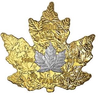 2018 - $200 - 1 oz. Pure Gold Platinum-Plated Coin - 30th Anniversary of the Platinum Maple Leaf