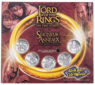2002 Reelcoinz Collectibles - 5 Medallions & Stickers - The Lord of the Rings - The Two Towers