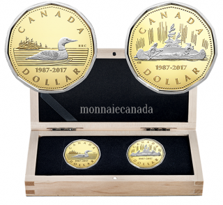 2017 - $1 Pure Golg 2-Coin Set - 30th Anniversary of the Loonie
