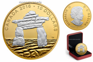 2016 - $10 - 1/2 oz. Reverse Gold-Plated Fine Silver Coin – Iconic Canada: Inukshuk