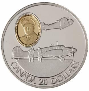 1990 Canada $20 Dollars Sterling Silver - Anson & Harvard - Powered Flight