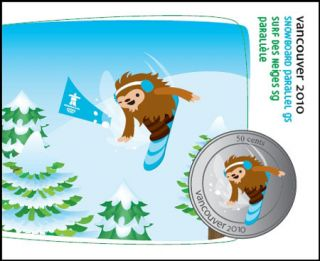 2010 - 50 Cents - Vancouver – Parallel Giant Slalom Mascot Collector Card