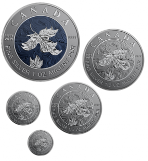 2019 - Pure Silver 5-Coin Maple Leaf Fractional Set - A Bicentennial Celebration