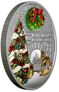 2019 - $20 - 1 oz. Pure Silver Coloured Coin - Murano Holiday Wreath