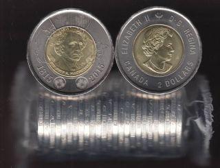 2015 Canada $2 Dollars - Sir John A. Macdonald - BU ROLL 25 Coins - UNC