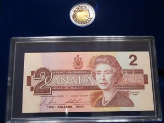 1996 Canada  Proof $2 Coin AND BRX Bank Note Set / Case & COA