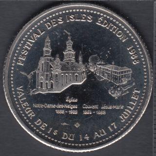 Trois-Pistoles - 1988 - Festival Des Isles - L'Église Notre-Dame-des-Neiges - $1 Dollar de Commerce