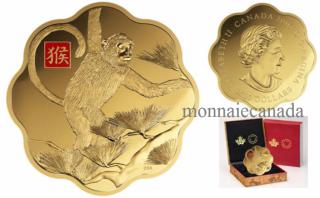 2016 - $2500 - Pièce colorée de un kilogramme en or pur – Année du Singe