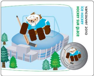 2010 - 50 Cents - Vancouver – Quatchi Mascot – Ice Hockey Collector Card