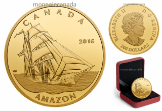 2016 - $200 - 1 oz. Pure Gold Coin – Tall Ships Legacy: The Amazon