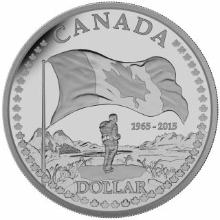 2015 - $1.00 - Proof Fine Silver Dollar - 50th Anniversary of the Canadian Flag