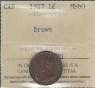 1927 - ICCS - MS 60 - Brown - Canada Cent